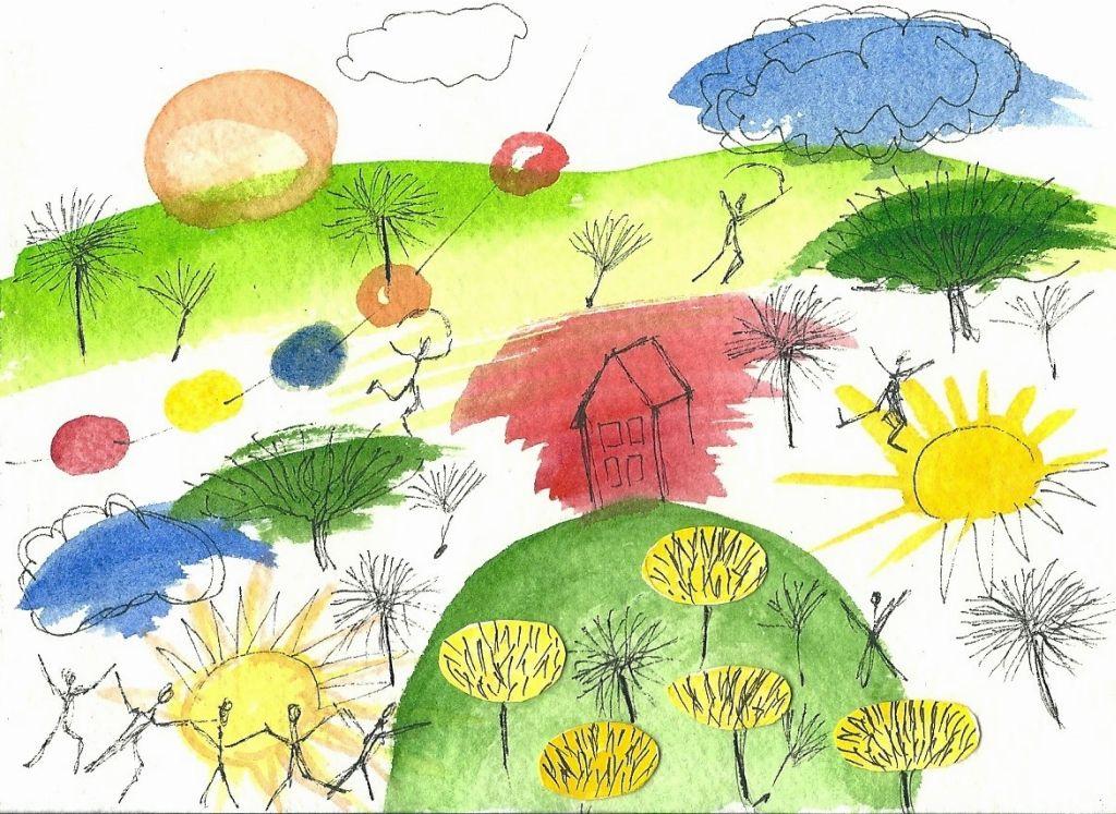 Illustration von Elisabeth Süß-Schwend zu »Kinderzeichnung« von Norbert Göttler