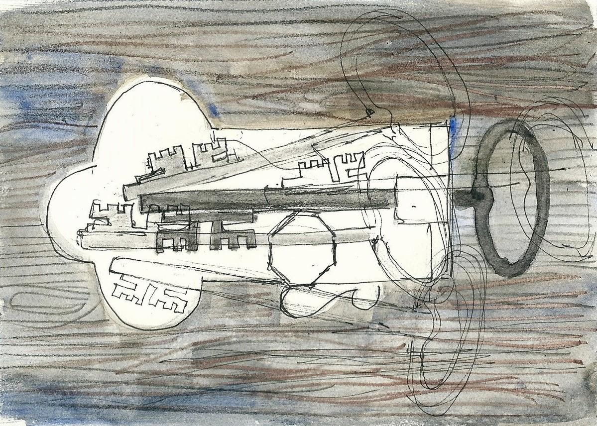 Illustration von Elisabeth Süß-Schwend zu »schlüssel und schloss« von Gerhard Rühm