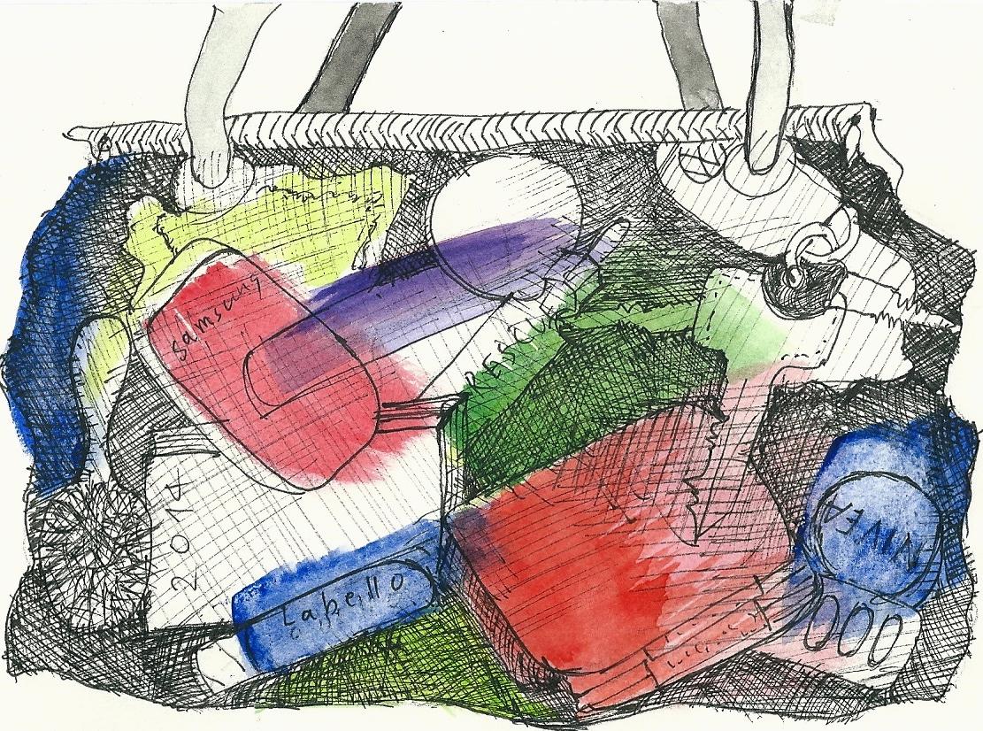 Illustration von Elisabeth Süß-Schwend zu »Die Tasche einer Frau« von Renate Schön