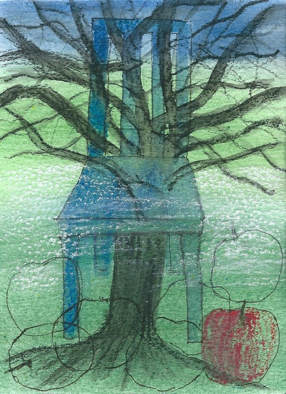 Illustration von Elisabeth Süß-Schwend zu »der apfelbaum in rainers garten« von Michael Starcke