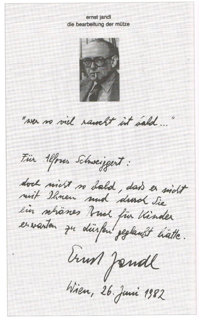 Ernst Jandl: Nachricht an Alfons Schweiggert
