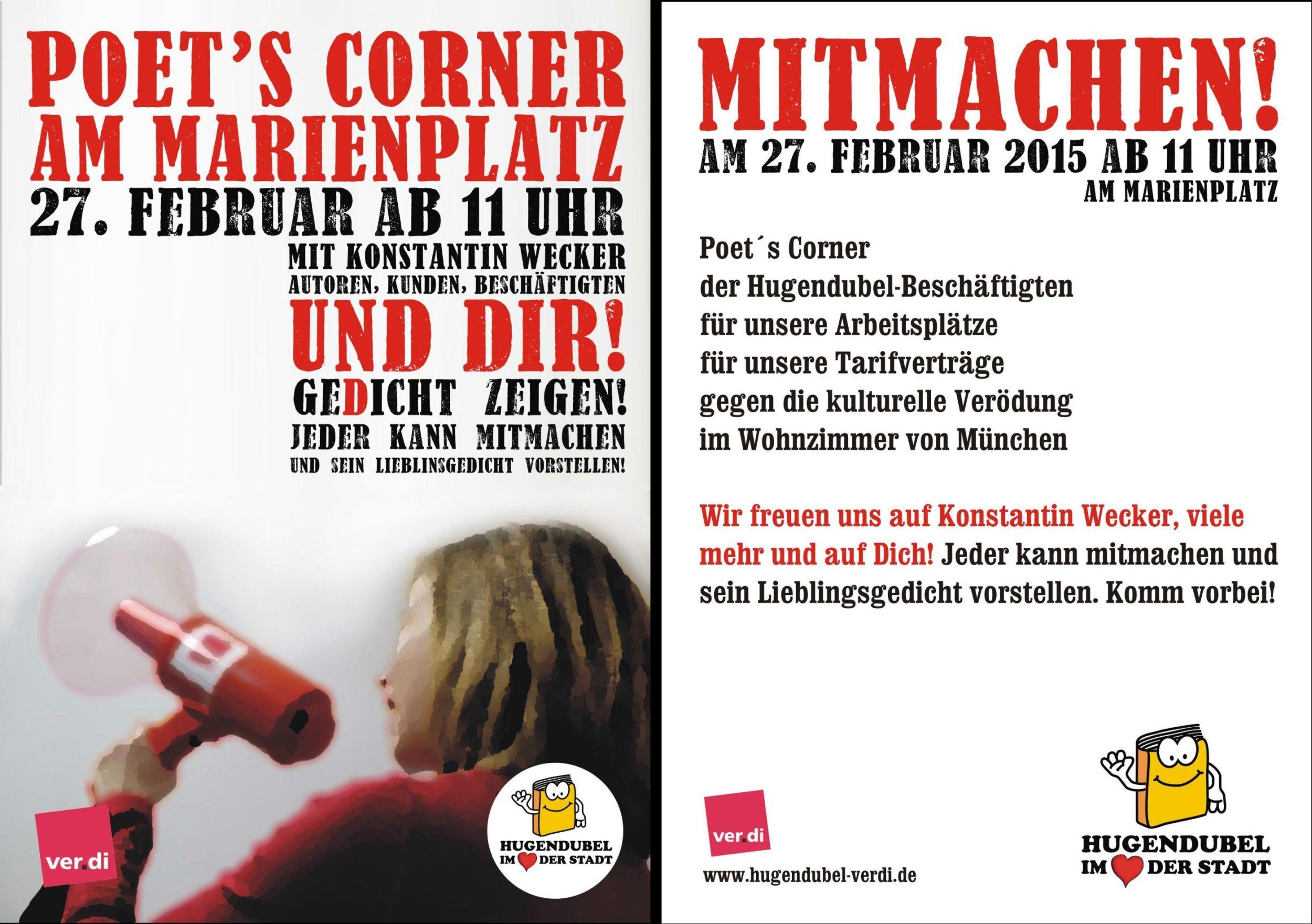 Poets Corner am Marienplatz, 27. Februar 2015 ab 11 Uhr