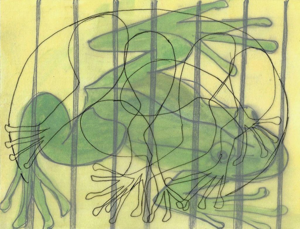Illustration von Elisabeth Süß-Schwend zu »vegetarisch temporär« von Manfred Chobot