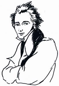Heinrich Heine. Skizze: Alfons Schweiggert