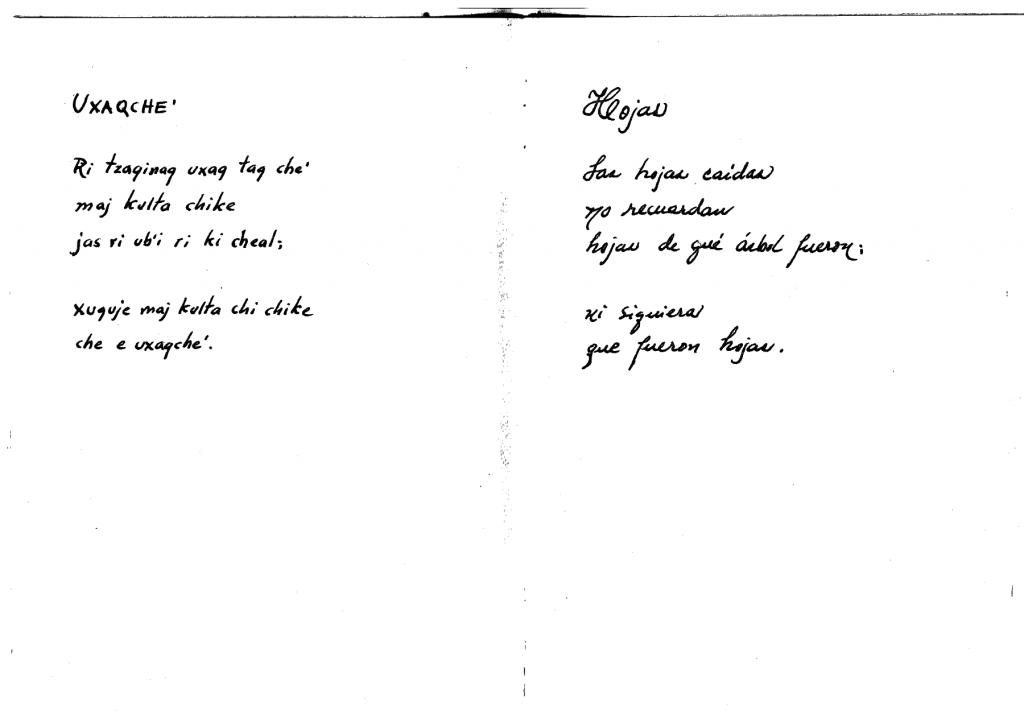 Handschrift Humberto Ak'abal
