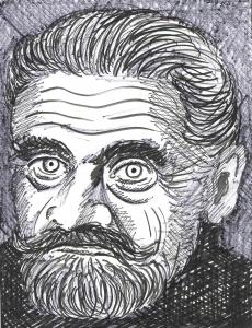 H.C. Artmann,  Zeichnung: Alfons Schweiggert