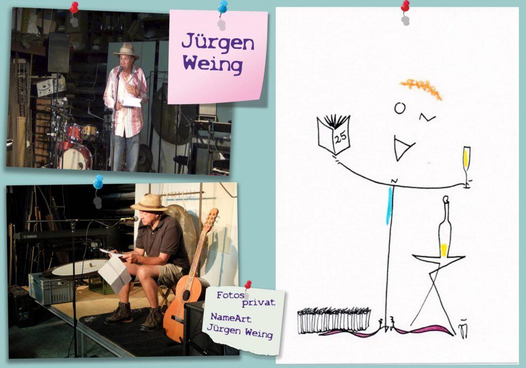 Collage Jürgen Weing mit Bildern aus dem privaten Archiv und einer Illustration von Jürgen Weing. Gestaltung: Franziska Röchter