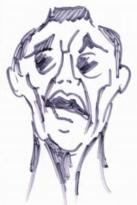 Rudolf Blümner beim Vortrag. Zeichnung: Alfons Schweiggert nach einer Büste von William Wauer