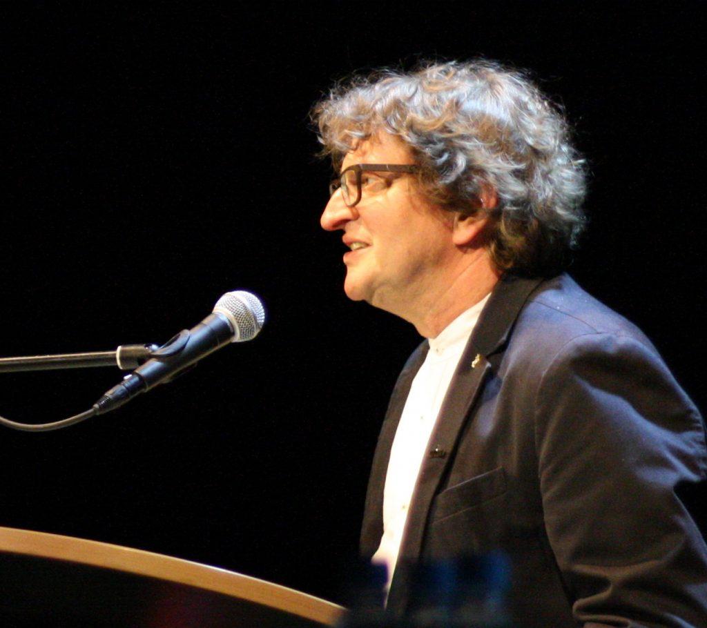 Mentor Anton G. Leitner beim Lyrikstier 2018. Foto: Jan-Eike Hornauer