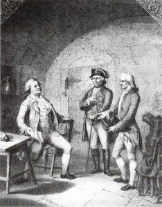 Schiller soll bei seinem Besuch des Häftlings Schubart  im November 1781 geseufzt haben: »Ein gefangener Mann, ein armer Mann!« Zeitgenössische Darstellung