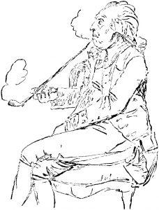 Carl Michael Bellman, Federzeichnung von Johan Tobias Sergel, ca. 1790