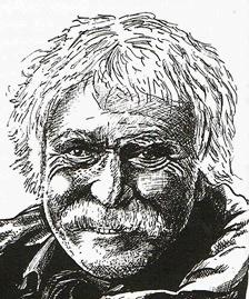 Porträt Janosch, Zeichnung von Alfons Schweiggert