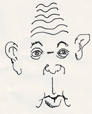 Robert Gernhardts wichtigste Körperteile, mit denen er dachte, hörte, sah, roch und sprach. Skizze: Alfons Schweiggert