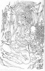 Tukoba auf dem Berg Bhandara (Zeichnung Nandalal Bose, 1945)