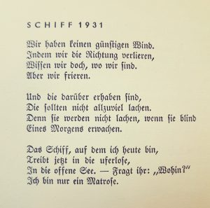 """Buchseite aus """"Gedichte Dreier Jahre"""" von Joachim Ringelnatz"""