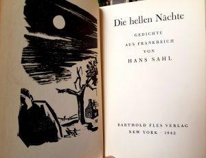 """""""Die hellen Nächte. Gedichte aus Frankreich"""" von Hans Sahl, Titelseite mit Buchillustration"""