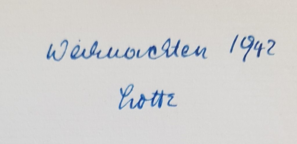 Handschriftlicher Eintrag der Vorbesitzerin Charlotte Lichtblau
