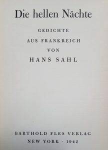 """""""Die hellen Nächte. Gedichte aus Frankreich"""" von Hans Sahl, Titelseite"""