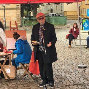 Der schwedische Dichter Bengt Berg am Hovrättstorget in Jönköping