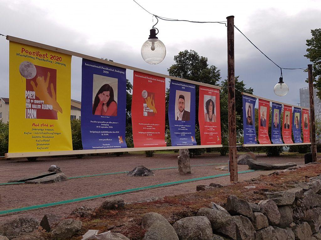 Poesiegasse mit Porträts zum Festival in Jönköping 2020